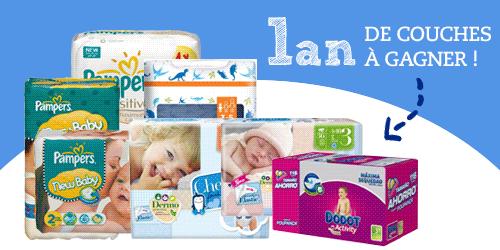 Tentez de gagner 1 an de couches pour bébé ... jeu-concours Bebes et Mamans