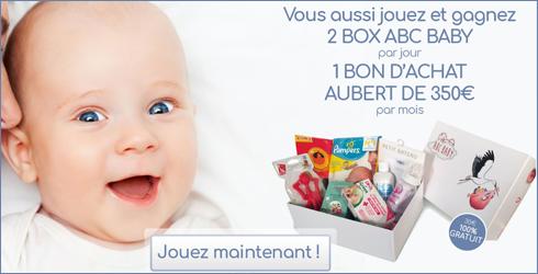 Jeu-concours ABC BABY - A gagner : Des chèques cadeaux Aubert de 350 euros, des Box ABC BABY de 35 à 70 euros